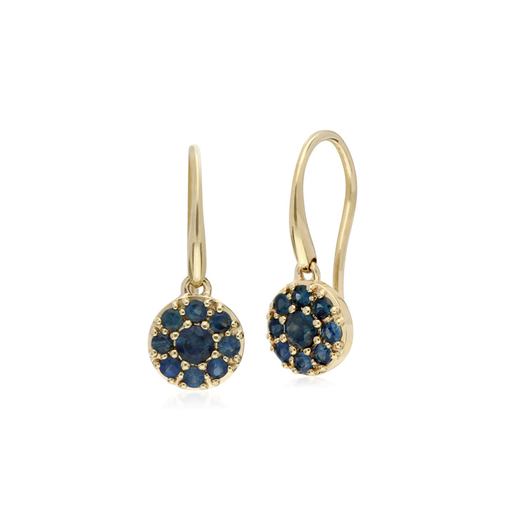 Cluster Round Sapphire Circle Fish Hook Drop Earrings in 9ct Yellow Gold