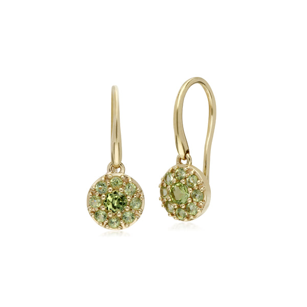 Cluster Round Peridot Circle Fish Hook Drop Earrings in 9ct Yellow Gold