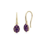 Cluster Round Amethyst Pear Fish Hook Drop Earrings in 9ct Yellow Gold