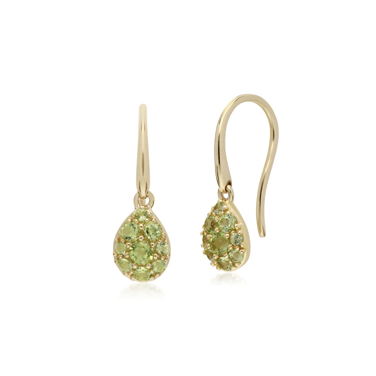 Cluster Round Peridot Pear Fish Hook Drop Earrings in 9ct Yellow Gold