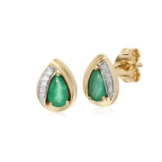 Classic Pear Emerald & Diamond Tear Drop Stud Earrings in 9ct Yellow Gold