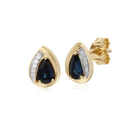Gemondo 9ct Yellow Gold Sapphire & Diamond Pear Classic Stud Earrings