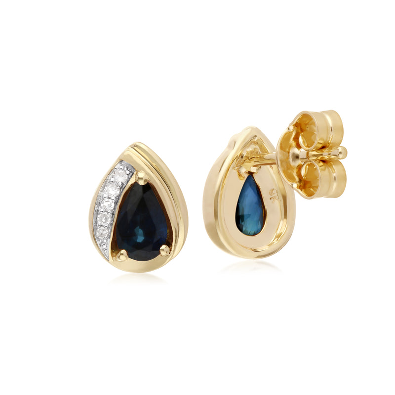 Classic Pear Sapphire & Diamond Tear Drop Stud Earrings in 9ct Yellow Gold