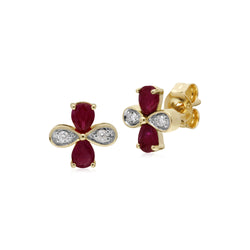 Floral Pear Ruby & Diamond Clover Stud Earrings in 9ct Yellow Gold