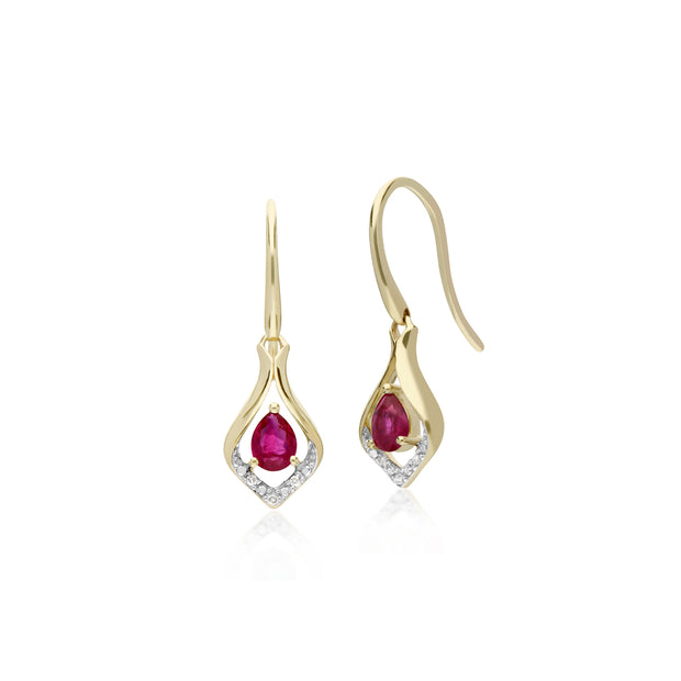 Classic Pear Ruby & Diamond Leaf Halo Drop Earrings in 9ct Yellow Gold
