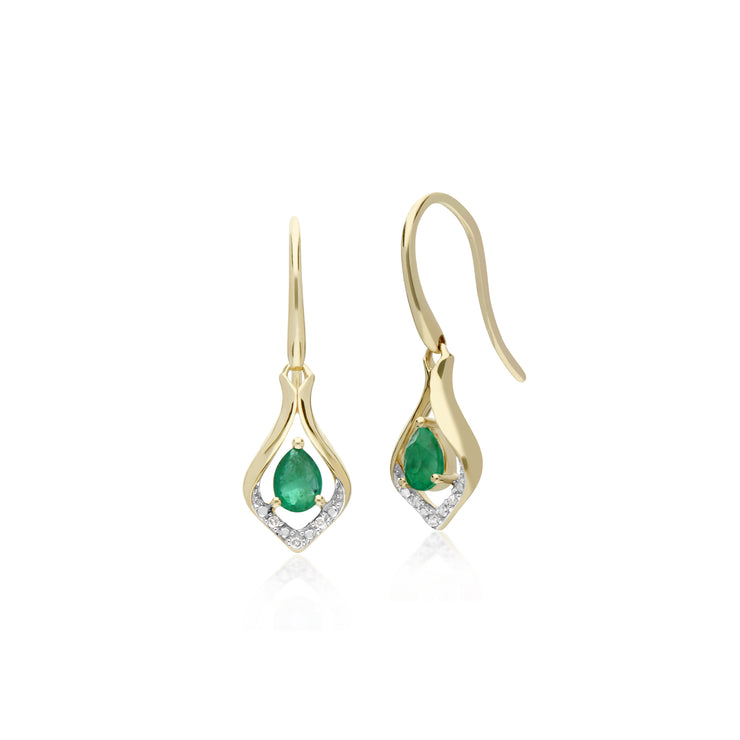 Classic Pear Emerald & Diamond Leaf Halo Drop Earrings in 9ct Yellow Gold