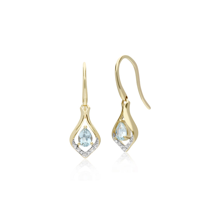 Classic Pear Aquamarine & Diamond Leaf Halo Drop Earrings in 9ct Yellow Gold