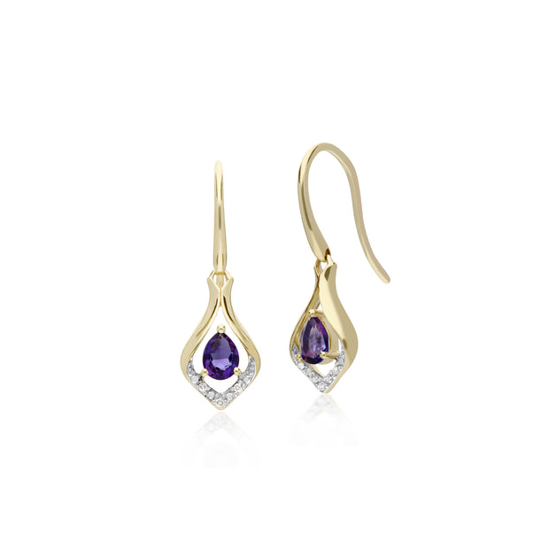 Classic Pear Amethyst & Diamond Leaf Halo Drop Earrings in 9ct Yellow Gold