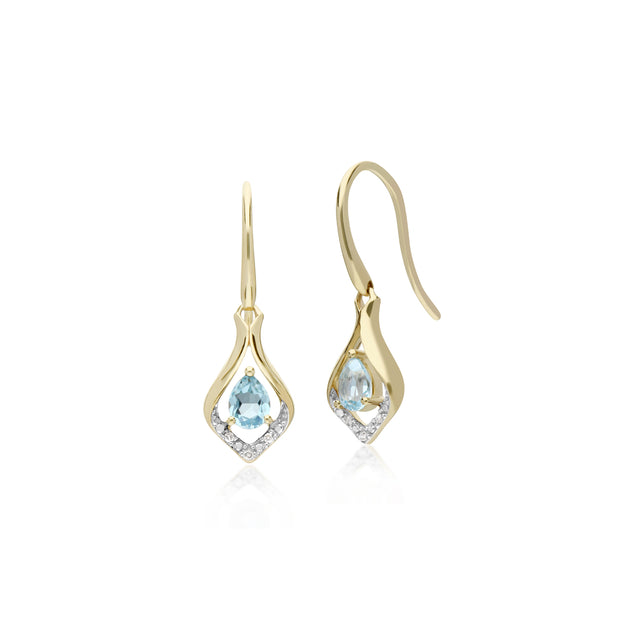 Classic Pear Blue Topaz & Diamond Leaf Halo Drop Earrings in 9ct Yellow Gold