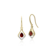 Classic Pear Garnet & Diamond Leaf Halo Drop Earrings in 9ct Yellow Gold