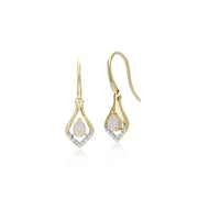 Gemondo 9ct Yellow Gold Round Opal & Diamond Leaf Drop Earrings