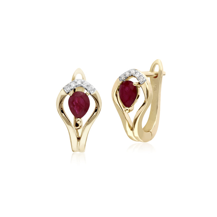 Classic Round Ruby & Diamond Leaf Halo Lever back Earrings in 9ct Yellow Gold
