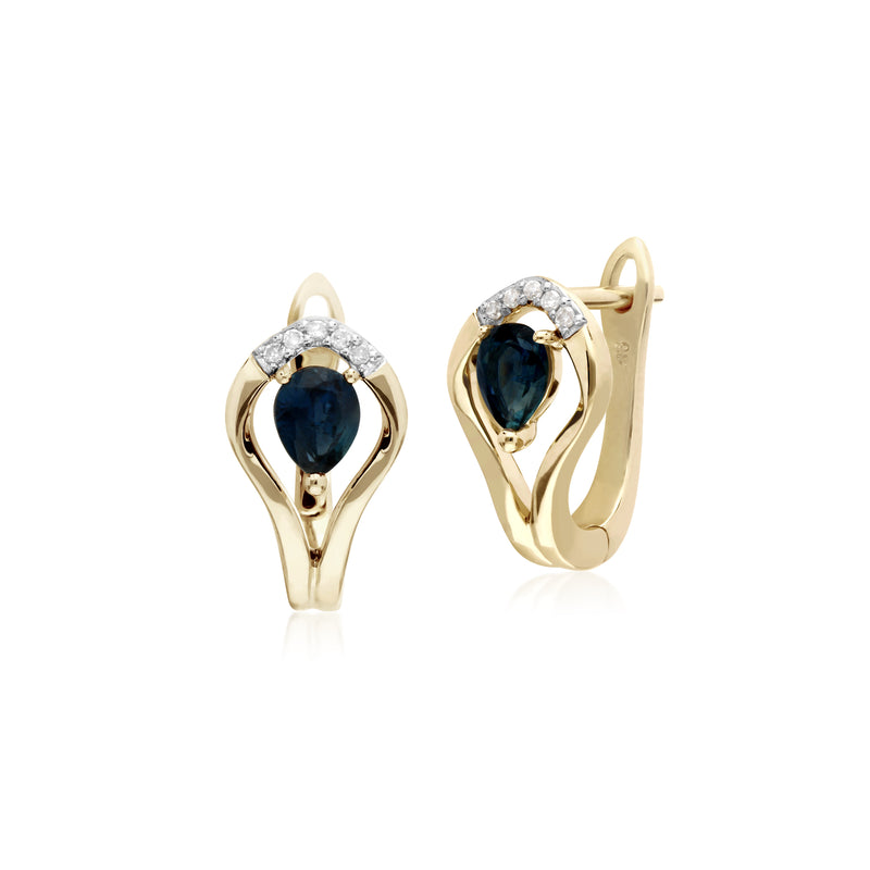 Classic Round Sapphire & Diamond Leaf Halo Lever back Earrings in 9ct Yellow Gold