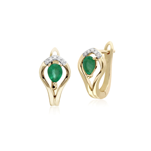 Classic Round Emerald & Diamond Leaf Halo Lever back Earrings in 9ct Yellow Gold