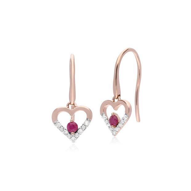 Classic Round Ruby & Diamond Love Heart Shaped Drop Earrings in 9ct Yellow Gold