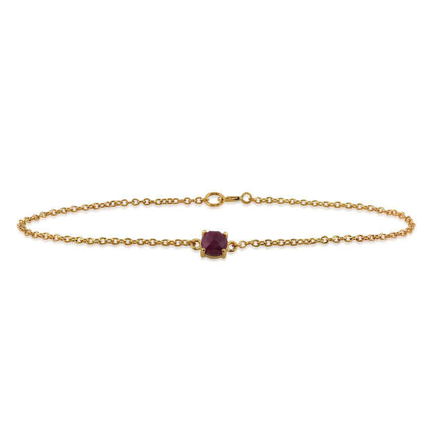 Classic Round Ruby Checkerboard Bracelet in 9ct Yellow Gold