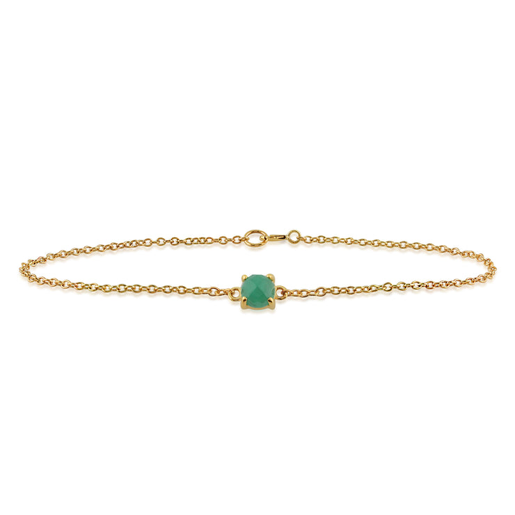 Classic Round Emerald Checkerboard Bracelet in 9ct Yellow Gold