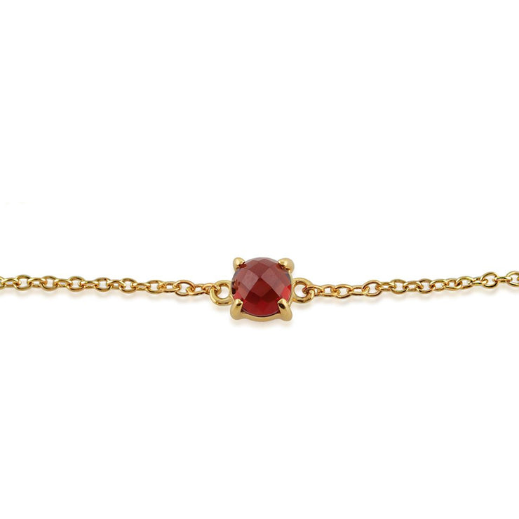 Classic Round Garnet Checkerboard Bracelet in 9ct Yellow Gold