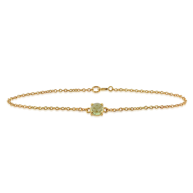 Classic Round Peridot Checkerboard Bracelet in 9ct Yellow Gold