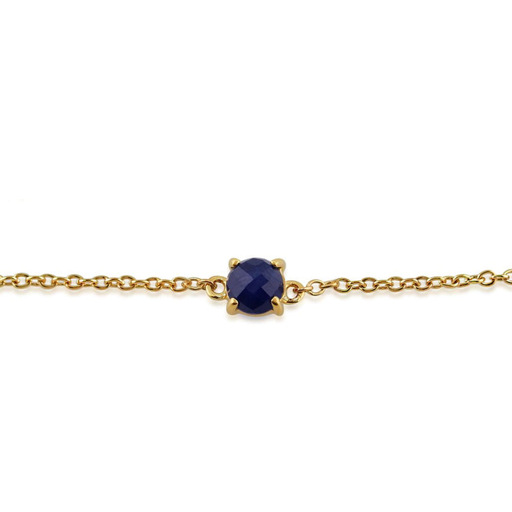 Classic Round Sapphire Checkerboard Bracelet in 9ct Yellow Gold