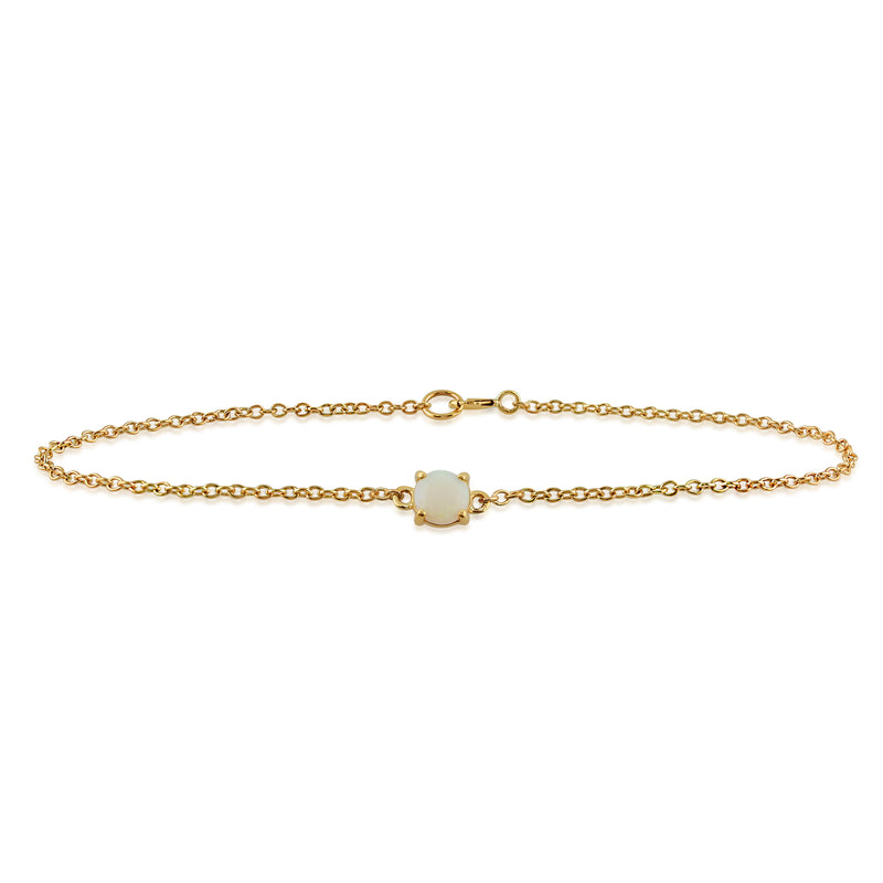 Classic Round Opal Cabochon Bracelet in 9ct Yellow Gold