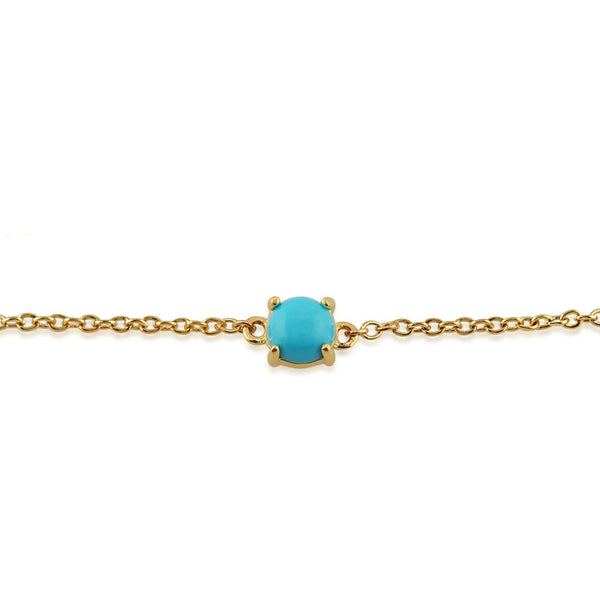 Classic Turquoise Cabochon Bracelet in 9ct Yellow Gold
