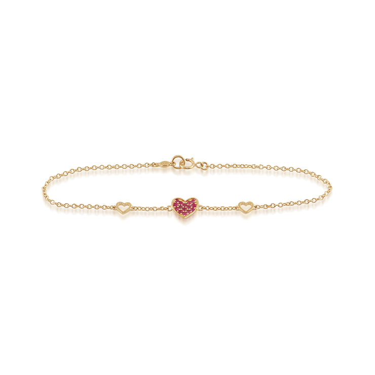 Classic Round Ruby Heart Bracelet in 9ct Yellow Gold