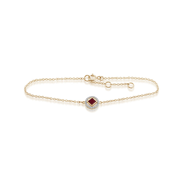 Classic Square Ruby & Diamond Halo Bracelet in 9ct Yellow Gold