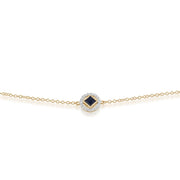 Classic Square Sapphire & Diamond Halo Bracelet in 9ct Yellow Gold