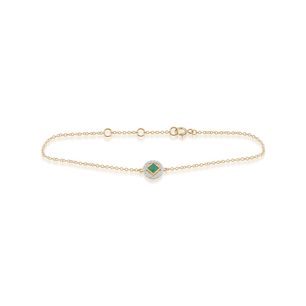 Classic Square Emerald & Diamond Halo Bracelet in 9ct Yellow Gold