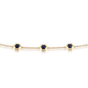 Geometric Hexagon Sapphire Three Stone 9ct Yellow Gold  Bracelet