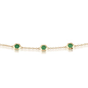 Geometric Hexagon Emerald Bezel Set Three Stone Bracelet in 9ct Yellow Gold