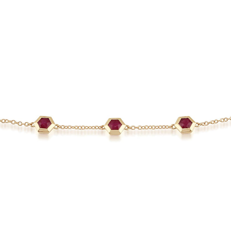 Geometric Hexagon Ruby Bezel Three Stone Bracelet in 9ct Gold
