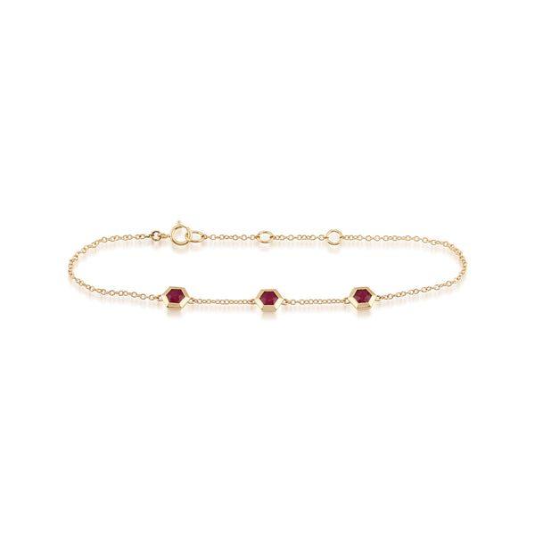 Geometric Hexagon Ruby Bezel Set Three Stone Bracelet in 9ct Yellow Gold