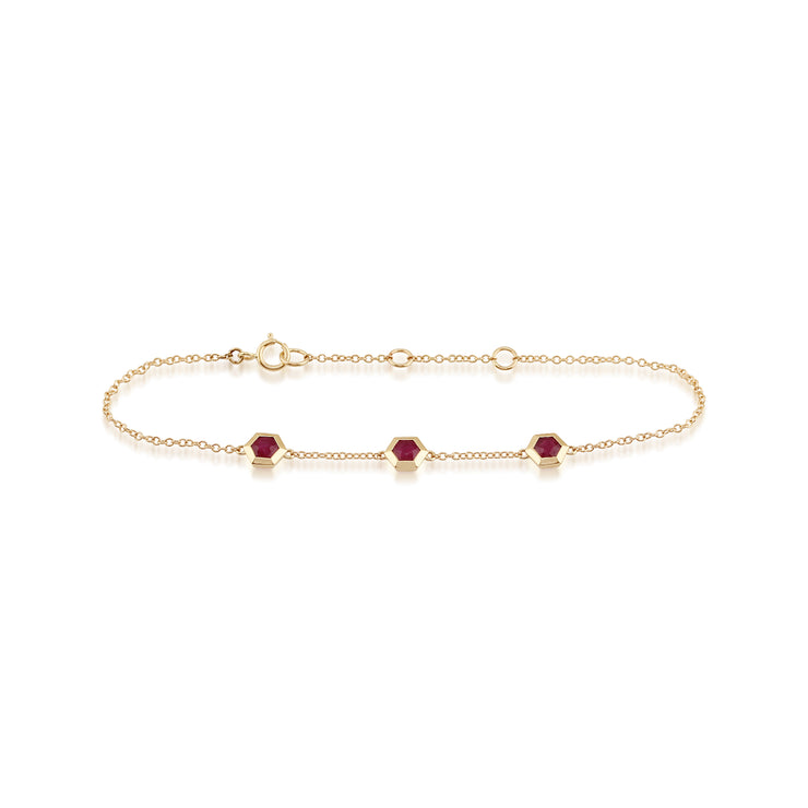 Geometric Hexagon Ruby Bezel Three Stone Bracelet in 9ct Yellow Gold