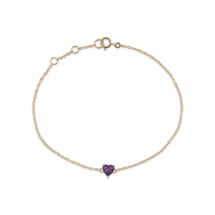 Classic Heart Amethyst Claw Set Single Stone Heart Bracelet in 9ct Yellow Gold