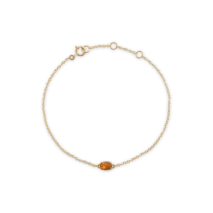 Classic Oval Citrine Single Stone Bracelet in 9ct Yellow Gold