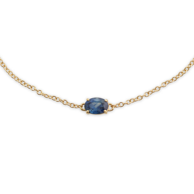 Classic Oval Sapphire Single Stone Bracelet in 9ct Yellow Gold
