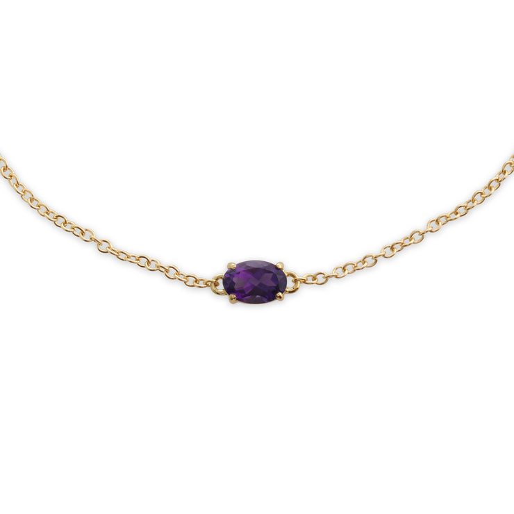 Classic Oval Amethyst Single Stone Bracelet in 9ct Yellow Gold