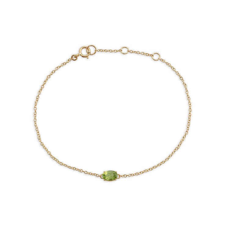 Classic Oval Peridot Single Stone Bracelet in 9ct Yellow Gold