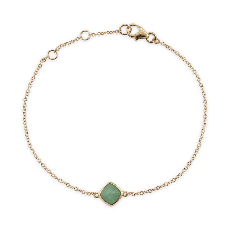 Classic Cushion Green Jade Bezel Set Bracelet in 9ct Yellow Gold