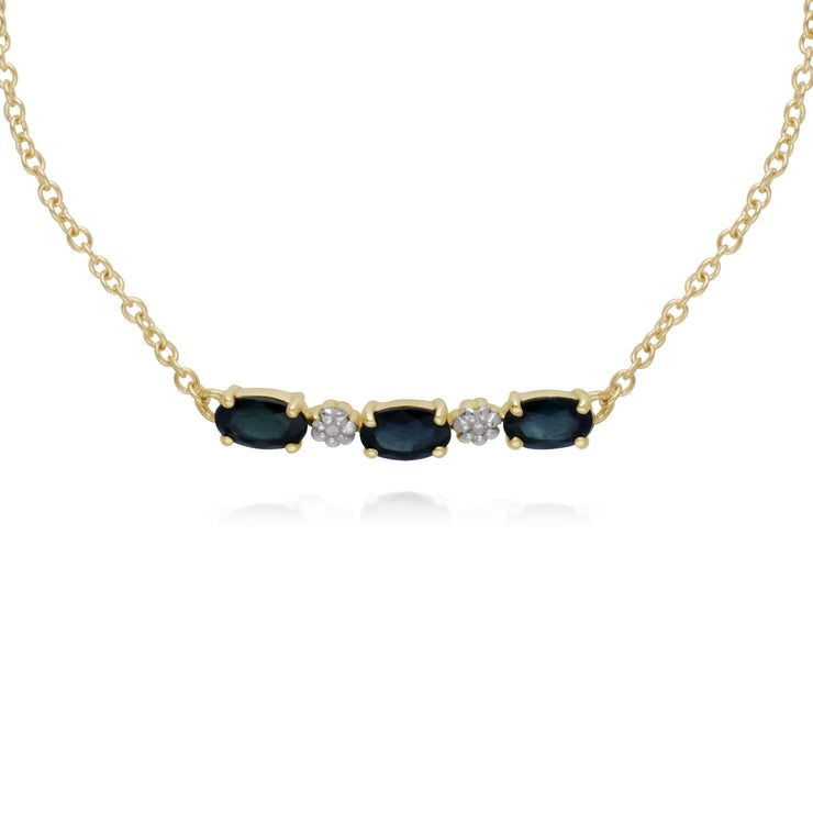 Classic Style Oval Sapphire & Diamond Bracelet in 9ct Yellow Gold