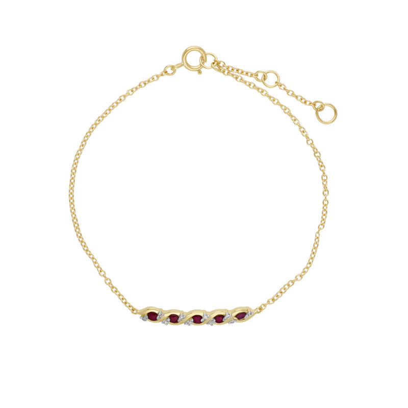 Classic Style Five Ruby & Diamond Twisted Bracelet in 9ct Yellow Gold