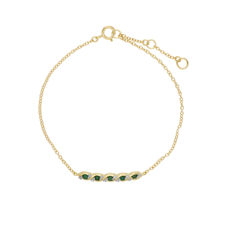 Classic Style Five Emerald & Diamond Twisted Bracelet in 9ct Yellow Gold