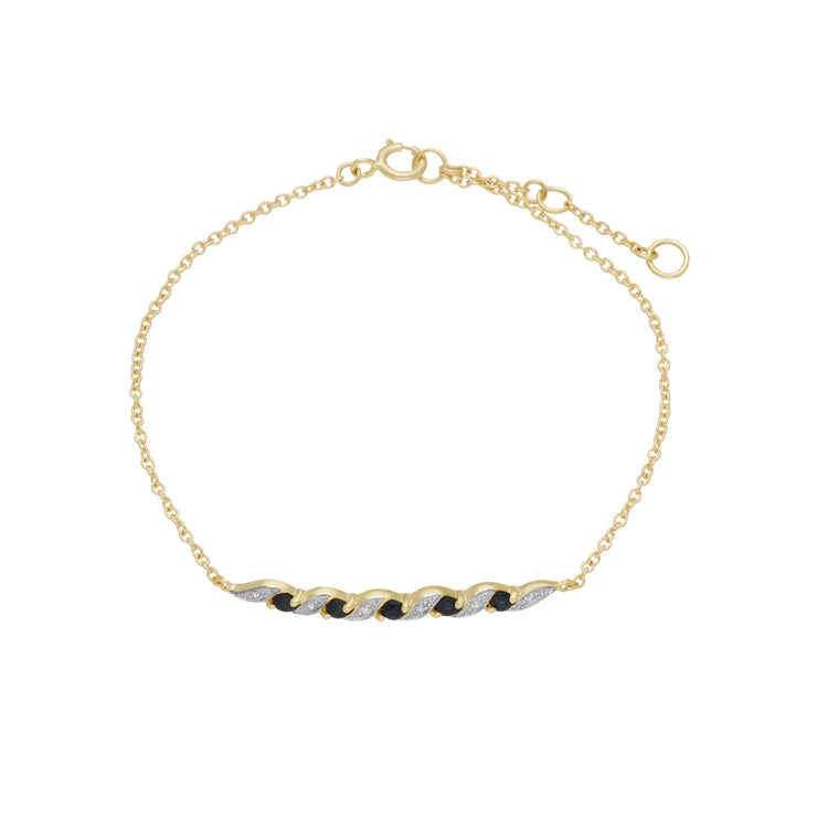 Classic Style Sapphire & Diamond Spiral Bracelet in 9ct Yellow Gold