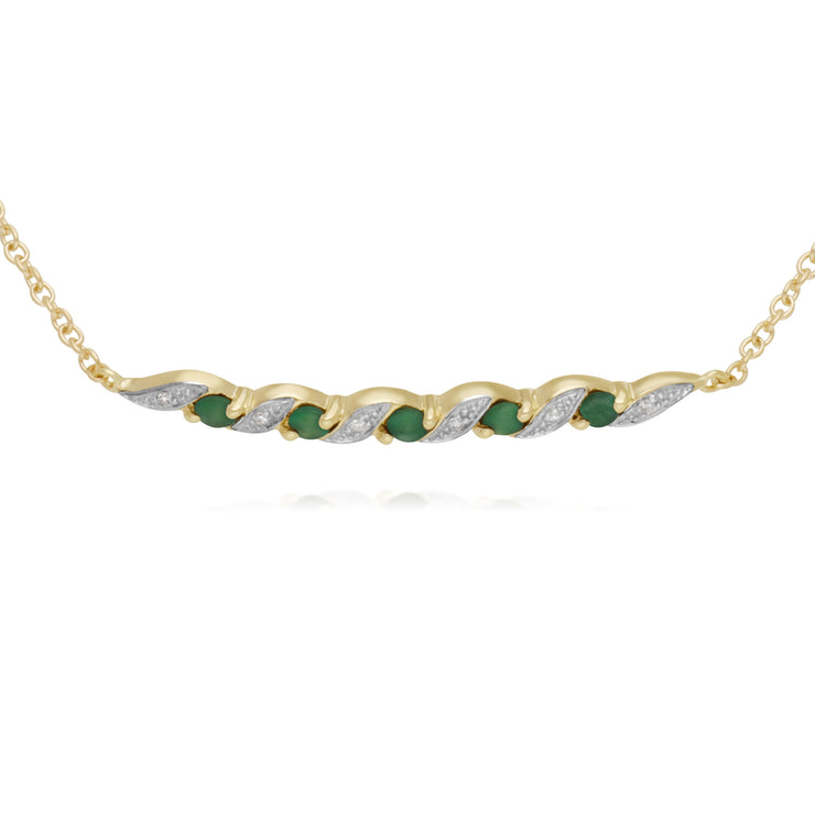Classic Style Emerald & Diamond Spiral Bracelet in 9ct Yellow Gold
