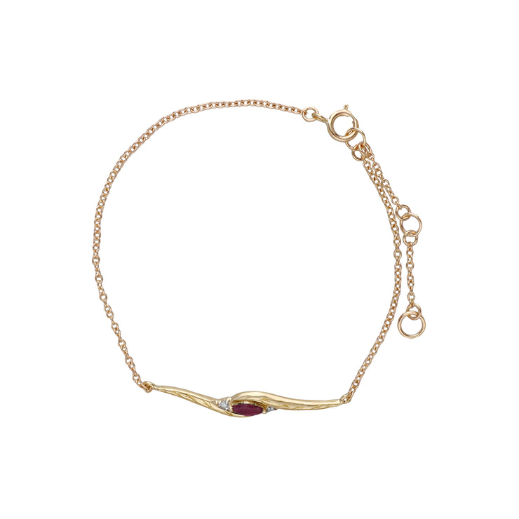 Classic Style Marquise Ruby & Diamond Bracelet in 9ct Yellow Gold