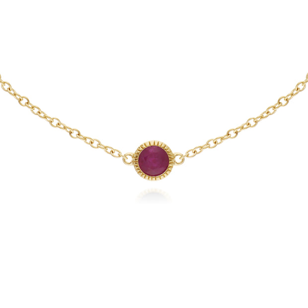 Classic Single Stone Round Ruby Milgrain Bracelet in 9ct Yellow Gold