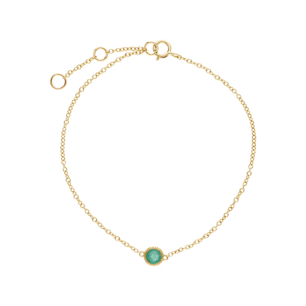 Classic Single Stone Round Emerald Milgrain Bracelet in 9ct Yellow Gold