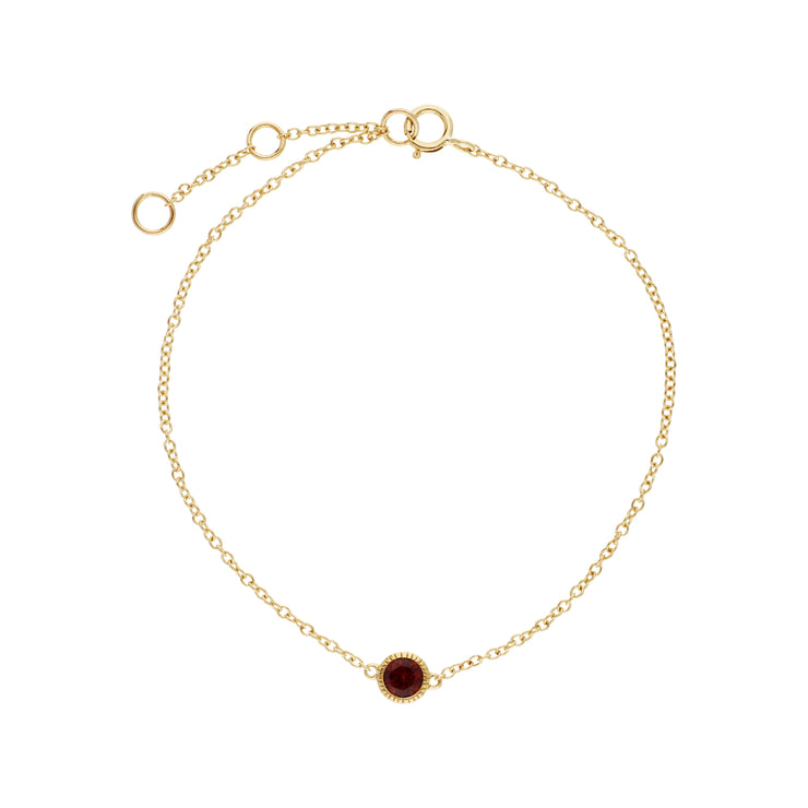 Gemondo 9ct Yellow Gold Garnet Single Stone Round Milgrain 19cm Bracelet